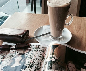 coffee, magazine, and drink image