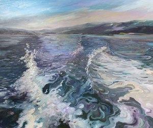 art, sea, and ocean image