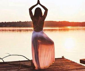 girl, yoga, and sunset image