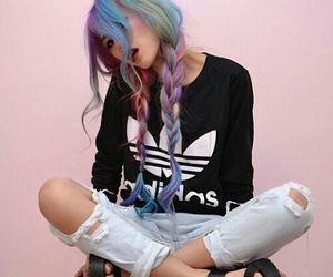 hair, adidas, and grunge image