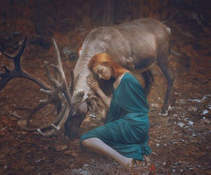 girl, animal, and nature image