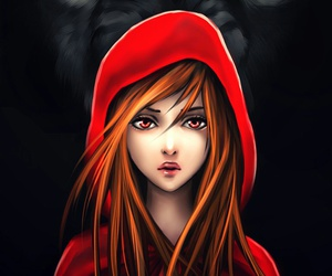 wolf, red riding hood, and anime image