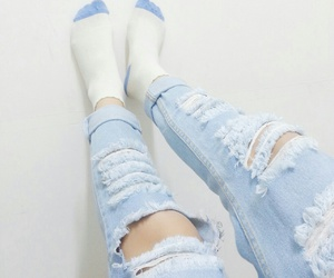 blue, pastel, and jeans image