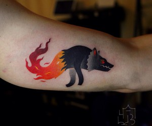 pixel, wolf, and wolf tattoo image
