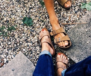 accesories, leather sandals, and tanned toned legs image