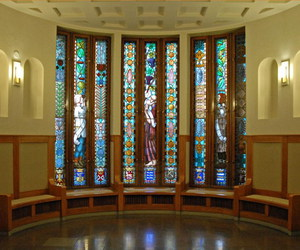 art deco, foyer, and stained glass image