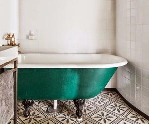 bathroom, bathtub, and design image