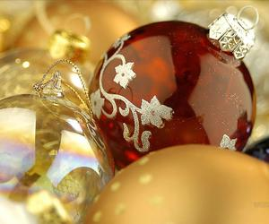 christmas, ornaments, and glass image