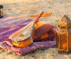 blanket, desert, and lamp image