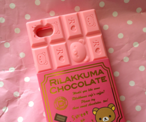 pink, rilakkuma, and chocolate image