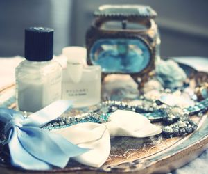 blue, bow, and jewelry image