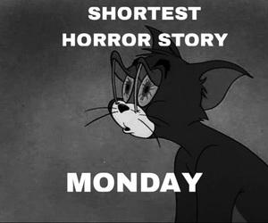 b&w, cartoon, and horror image
