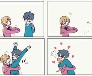 love, hug, and anime image