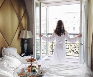 bed, balcony, and breakfast image