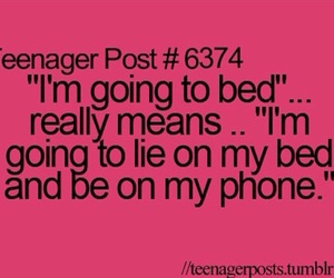 bed, phone, and text image