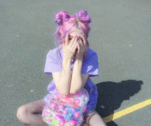 girl, pink, and pale image