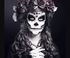 day of the dead, flowers, and makeup image