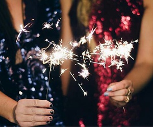 girl, pretty, and sparklers image