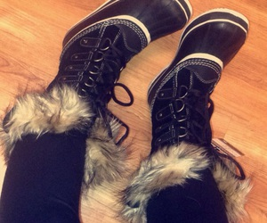 black, boots, and cozy image