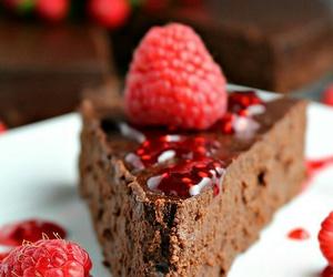 chocolate, cake, and raspberry image