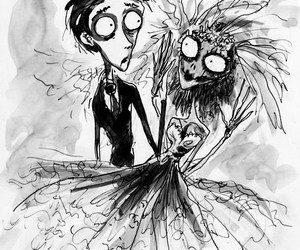 black and white and tim burton image