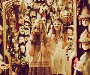 girl, mask, and mirror image