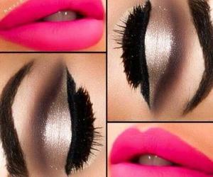 pink makeup eyes lips image