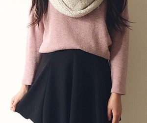 black skirt, fashion, and knee high socks image