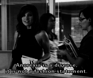 anorexia, black and white, and subtitles image