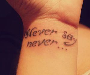 tattoo, justin bieber, and never say never image