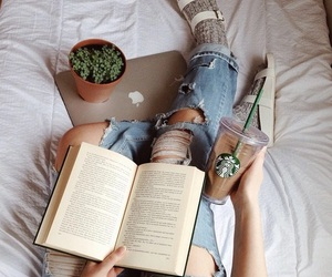 book, starbucks, and coffee image