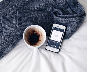 coffee, iphone, and sweater image