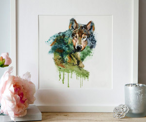 etsy, printable art, and wolves image
