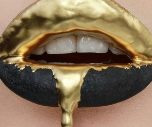 gold, lips, and black image