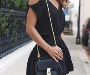 black dress, brunette, and curls image