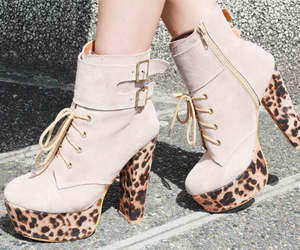 boots, high, and leopard print image
