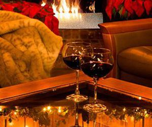 romantic, wine, and fireplace image