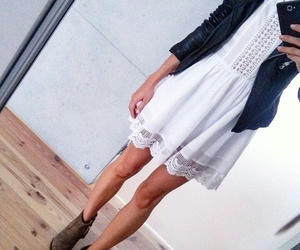 chic, fashion, and white dress image