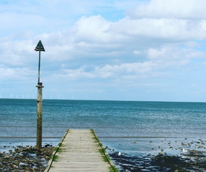 beach, pier, and sea image