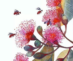 art, flowers, and bees image