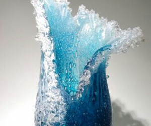 glass, turquoise, and glass vase image