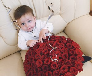 baby, family, and roses image