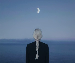 moon, girl, and hair image