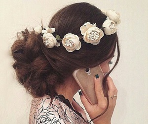 beautiful, flower, and hair image
