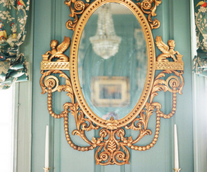 mirror, blue, and gold image