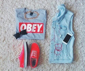 iphone, obey, and red image