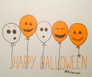 balloons, drawing, and Halloween image