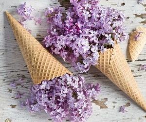 flowers, purple, and ice cream image