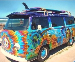 hippie, van, and peace image