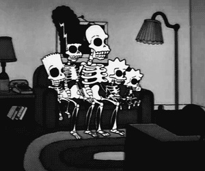 the simpsons, simpsons, and black and white image